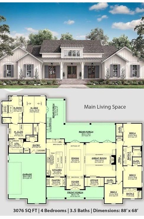 Best 4 Bedroom Modern Farmhouse With 3 5 Bathrooms And An Outdoor Living Space At Cool House Plans In 2020 House Plans Farmhouse My House Plans Craftsman House Plans