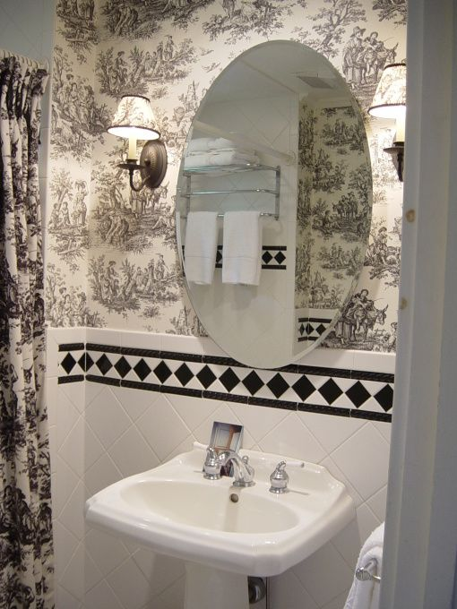 ash tree cottage toile and buffalo checks in the bath finding my rh pinterest com