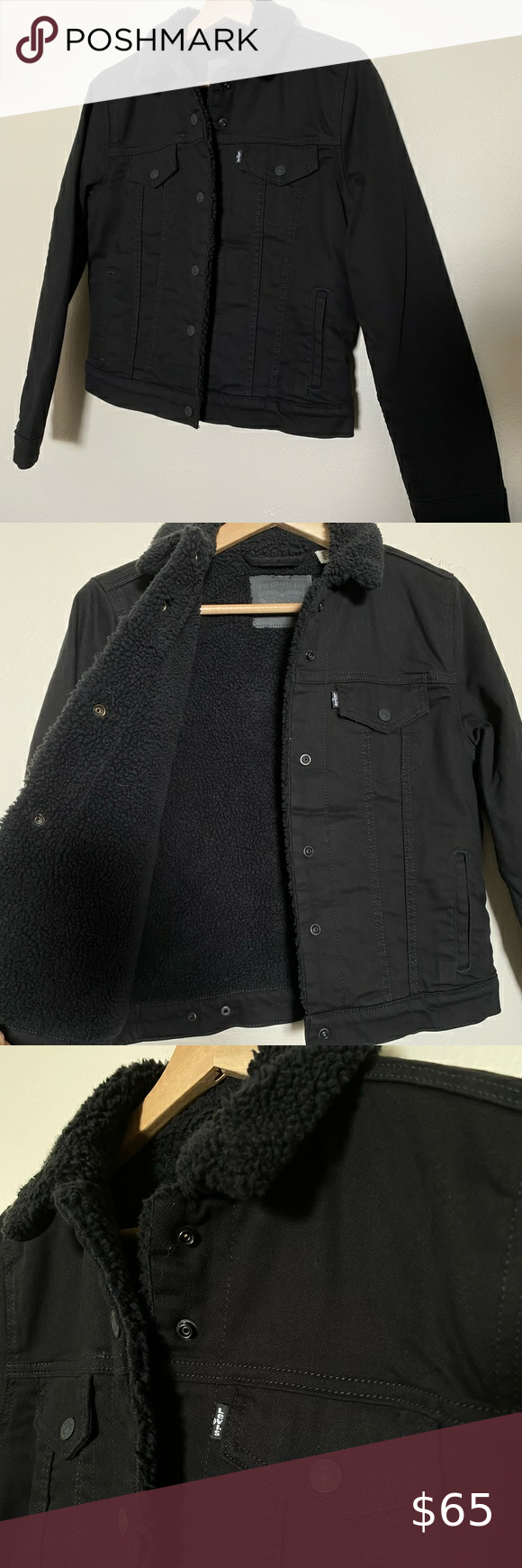 Levi's Black Sherpa Trucker Jacket in 2020 Black denim