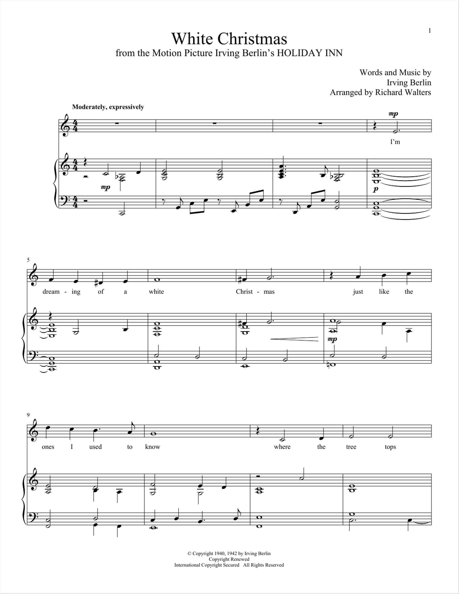 white christmas piano sheet music | Xmast Decors | Pinterest ...