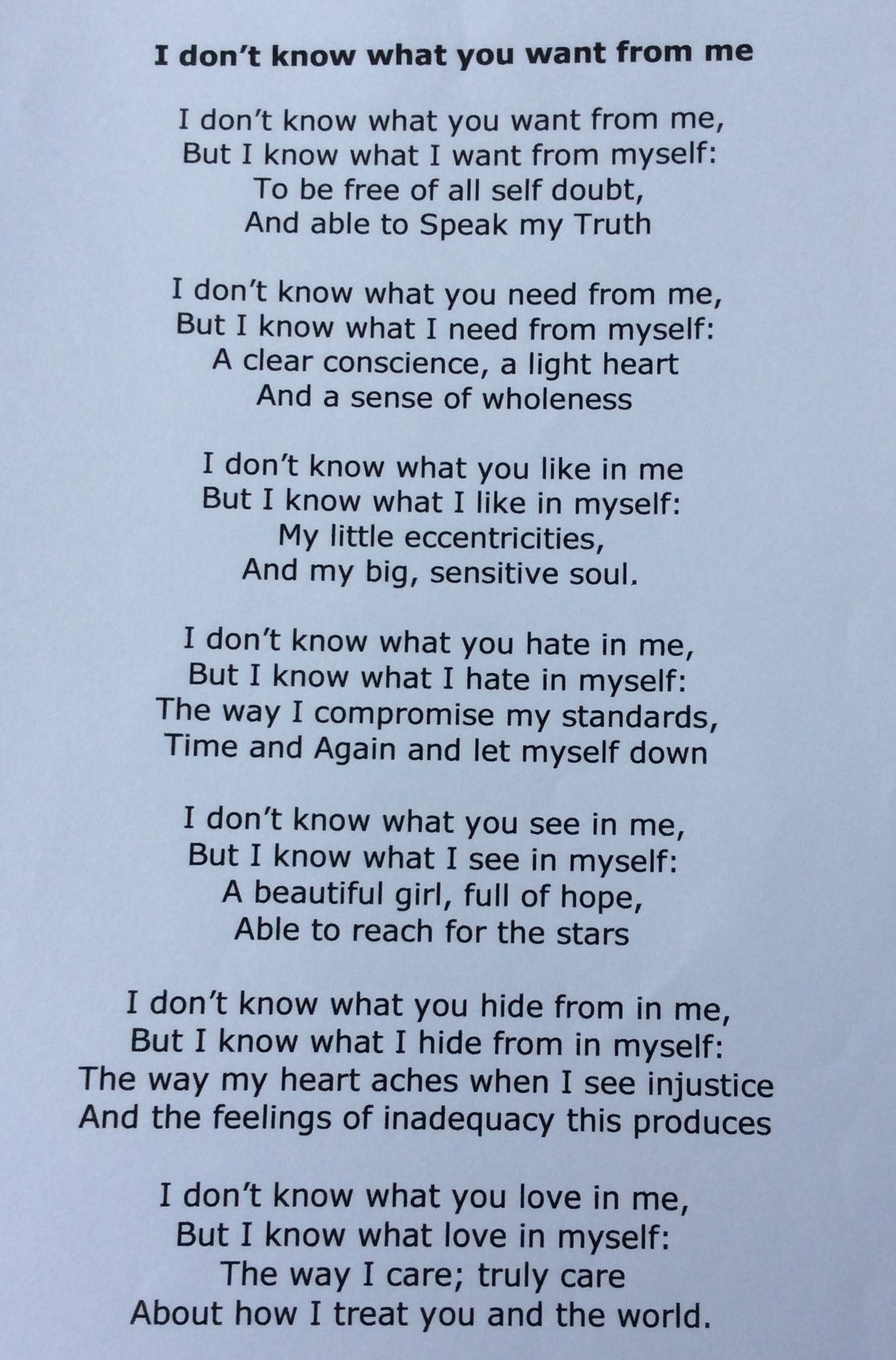 Original Poem I Don T Know What You Want From Me By Yasmin L Cole Copyright Know What You Want Thats Not My Things I Want