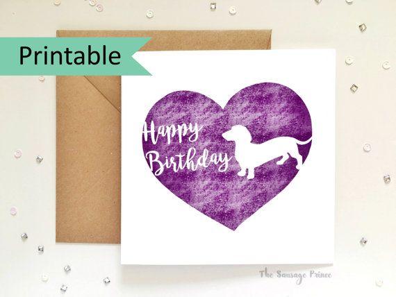 Happy Birthday Dachshund Greeting Card Template Instant Printable - greeting card template