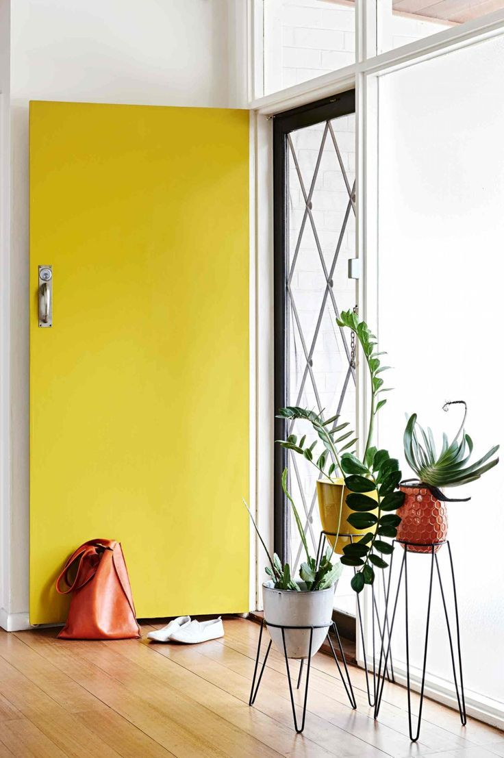 Bright yellow front door. Uncluttered simple entry with plants ...