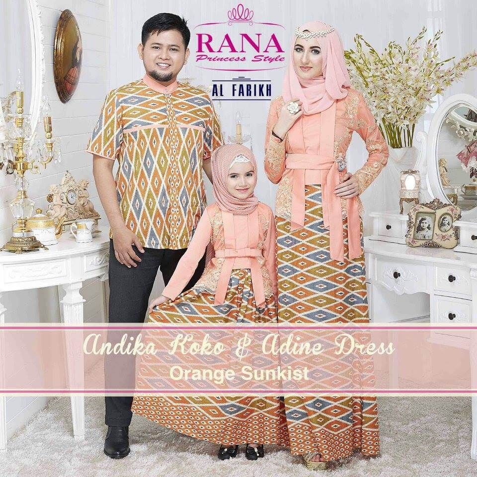 Adine Dress Gamis Kebaya Muslim Pesta Orange Sunkist Hasanudin