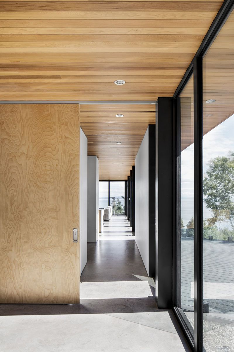 Home interior design outside western cedar on the overhangs extend from the outside of this home