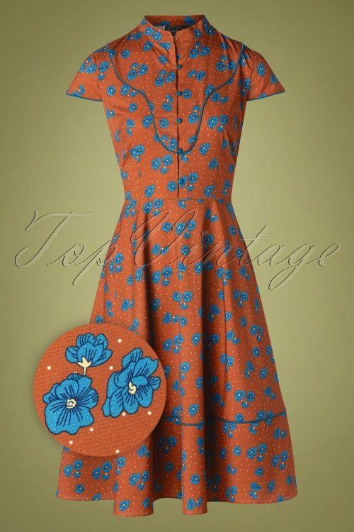 Vixen 30881 Swingdress Ada Button Floral Brown 10012019 002Z