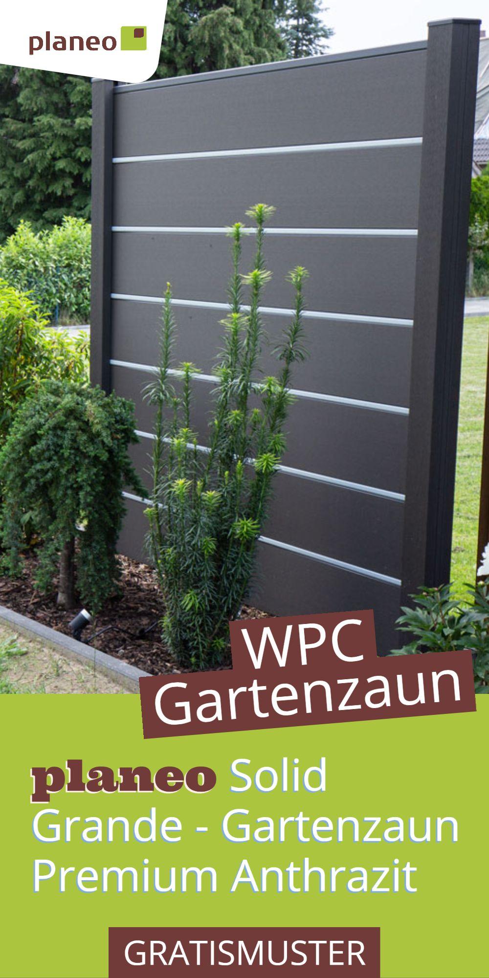 planeo Solid Grande WPC Gartenzaun Premium Anthrazit