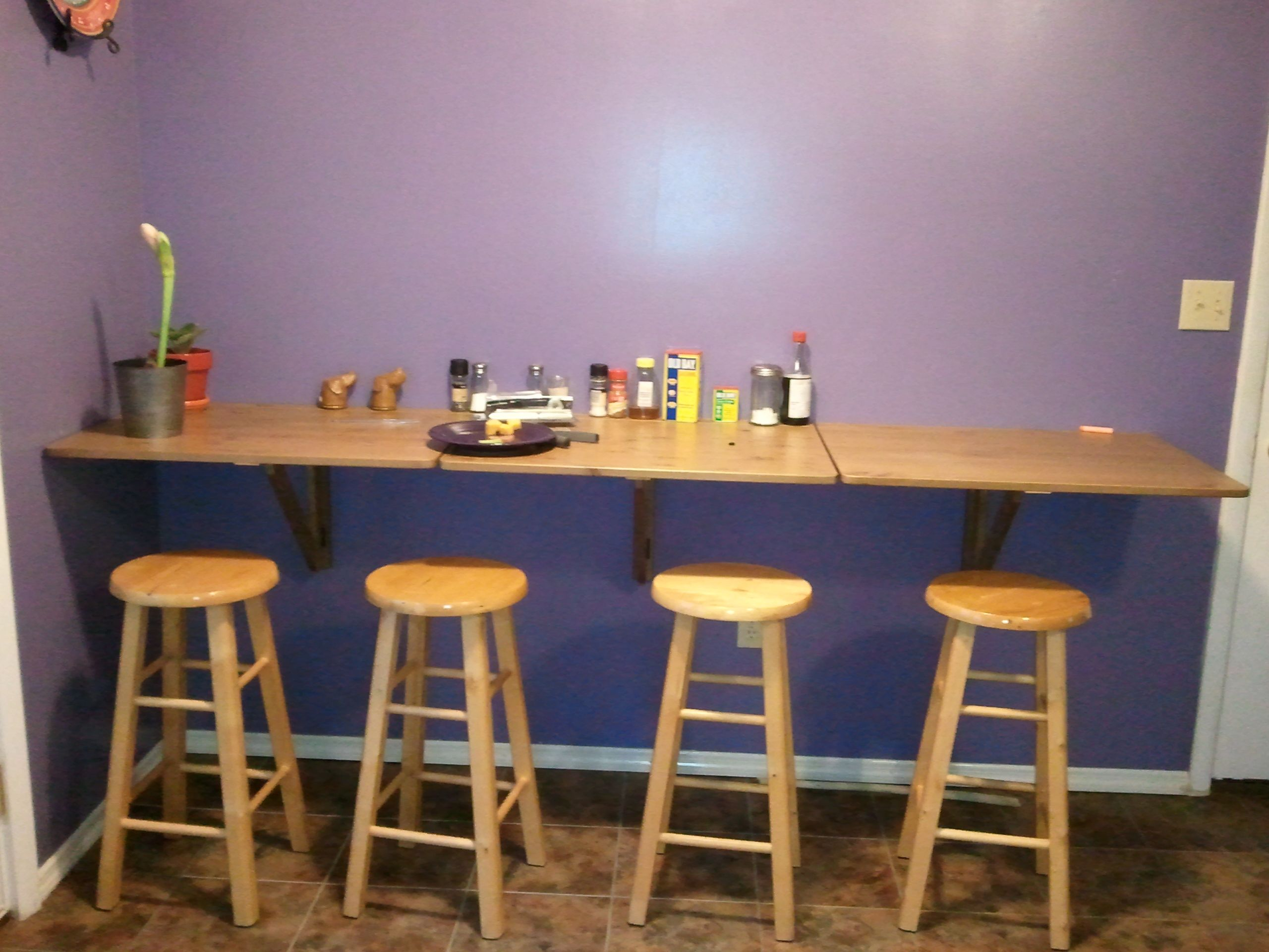 Image of: Wall Mounted Drop Leaf Table And Stools