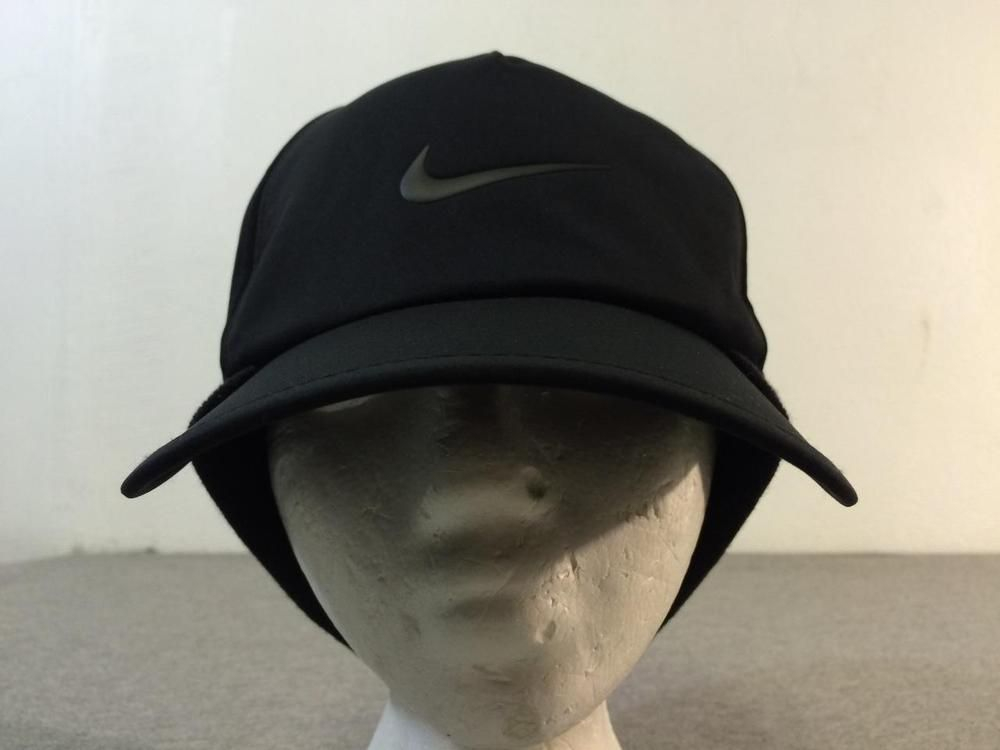 df9d531035c NIKE Golf Hat Black Cap Ear Flap Warmer Elastic Band Minty! EUC  Nike