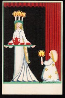 Postcard by Lucia Boel Cronberg. Being Saint Lucia is one of my happiest childhood memories.