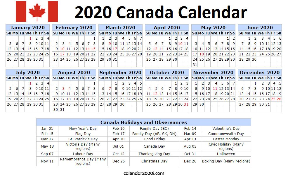 2020 Canada Holidays Calendar Printable Holiday calendar