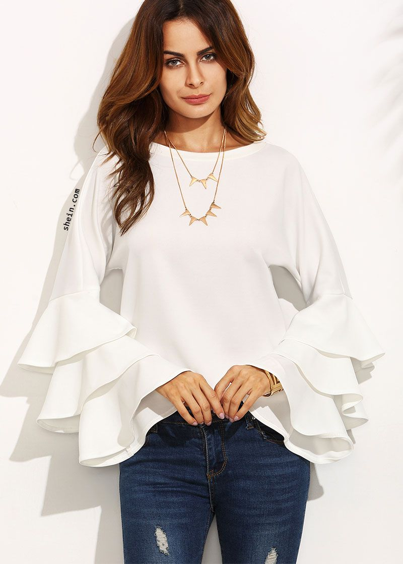 e8f336d47ba White Round Neck Ruffle Long Sleeve Blouse