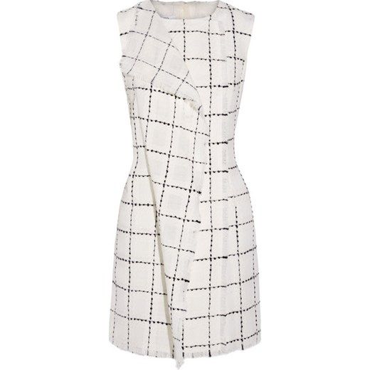 Wrap-effect wool-tweed mini dress net-a-porter szary mini