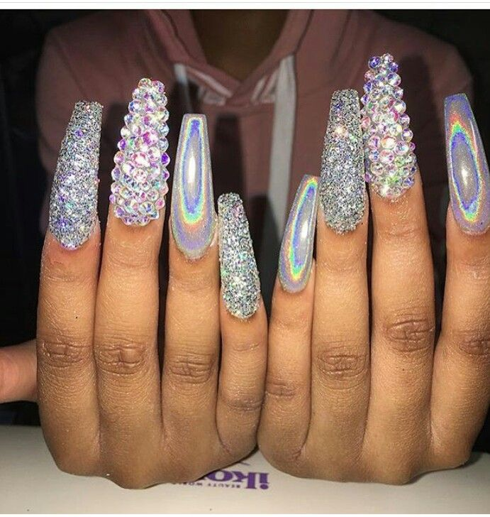 Long Glitter & Chrome Holographic Coffin Shape Acrylic ...