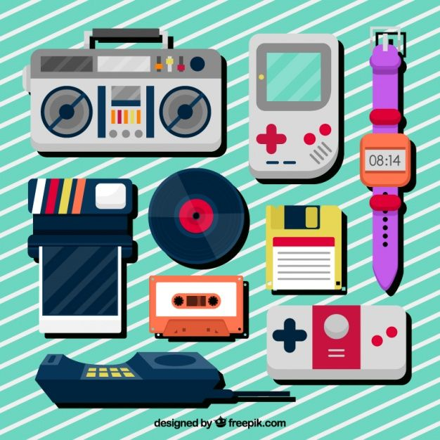 Collection of eighties flat objects Free Vector