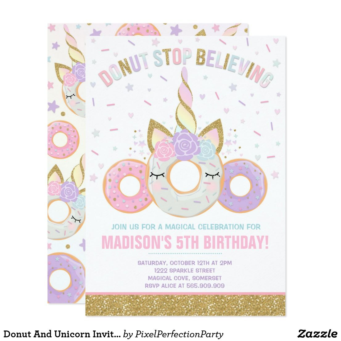 Donut And Unicorn Invitation Donut Stop Believing | Party ...