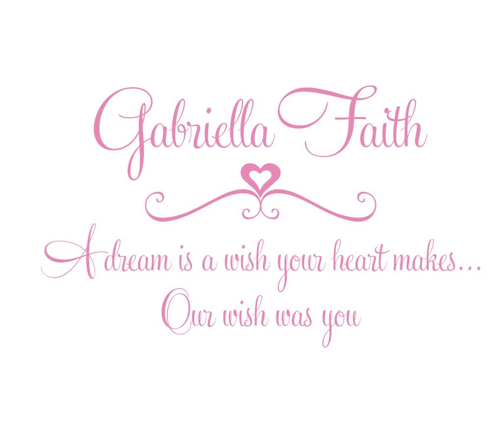 Disney Quotes Baby Girl: Girl Wall Decal Quote A Dream Is A Wish Your Heart Makes