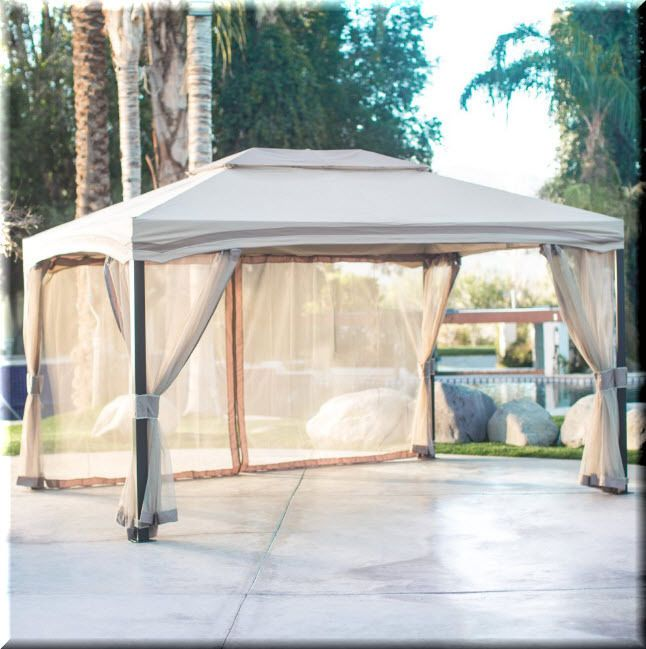 Gazebo Canopy 13x10 Cabin Outdoor Patio Backyard Shelter Aluminum Rectangle | eBay & Gazebo Canopy 13x10 Cabin Outdoor Patio Backyard Shelter Aluminum ...