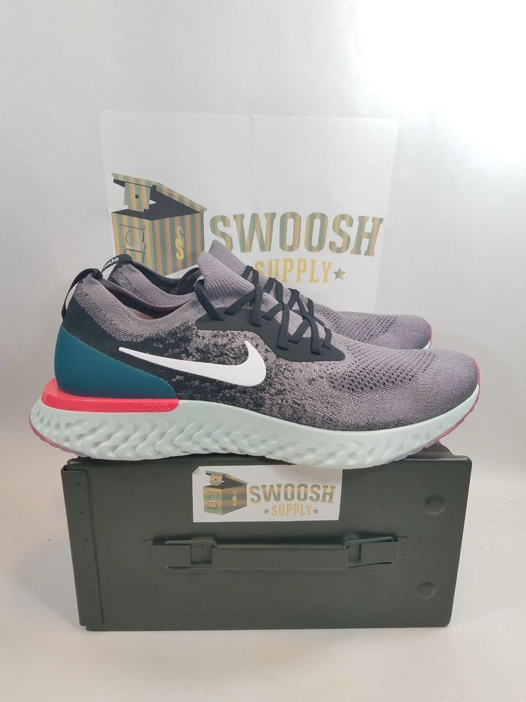 6551edc566c63 Nike Epic React Flyknit AQ0067-010 Gun Smoke Geode Teal Size 15 New  Nike   RunningShoes