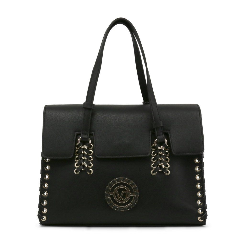 Versace Jeans Bag | Studded handbags, Black leather handbags