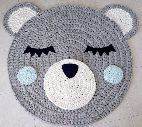 Oso Crochet alfombra alfombra de oso alfombra hecha a mano