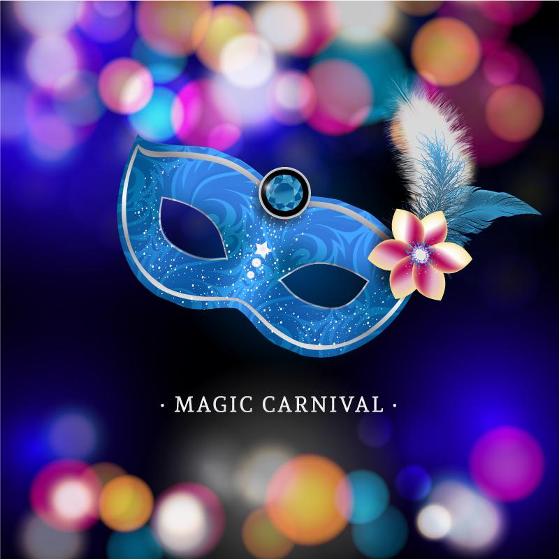 c923bac93 Fondo con Máscara de Carnaval con plumas. Descarga gratis. Carnival mask  with blue feathers.