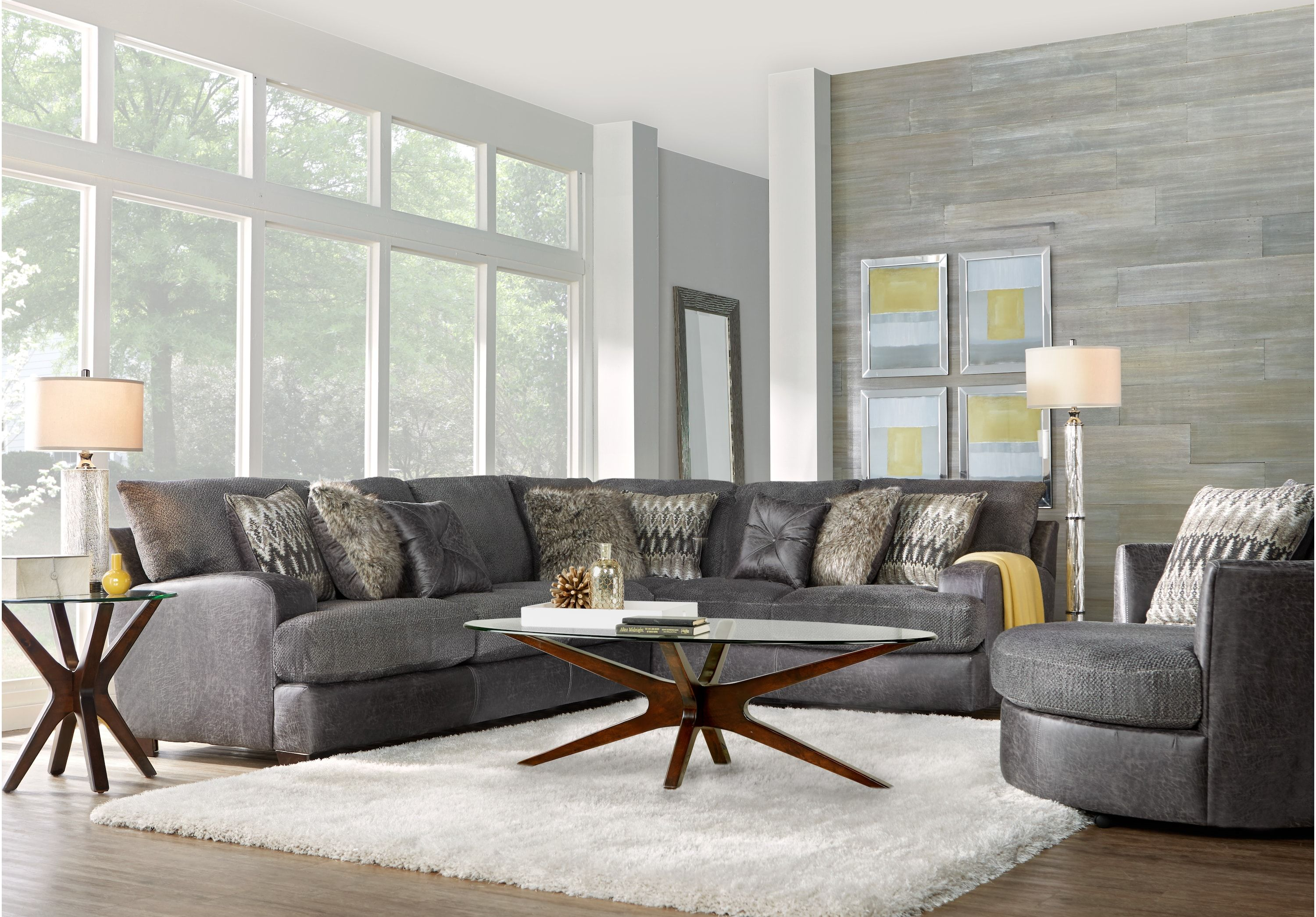Skyline Drive Gray 2 Pc Sectional Living Room Sets Gray