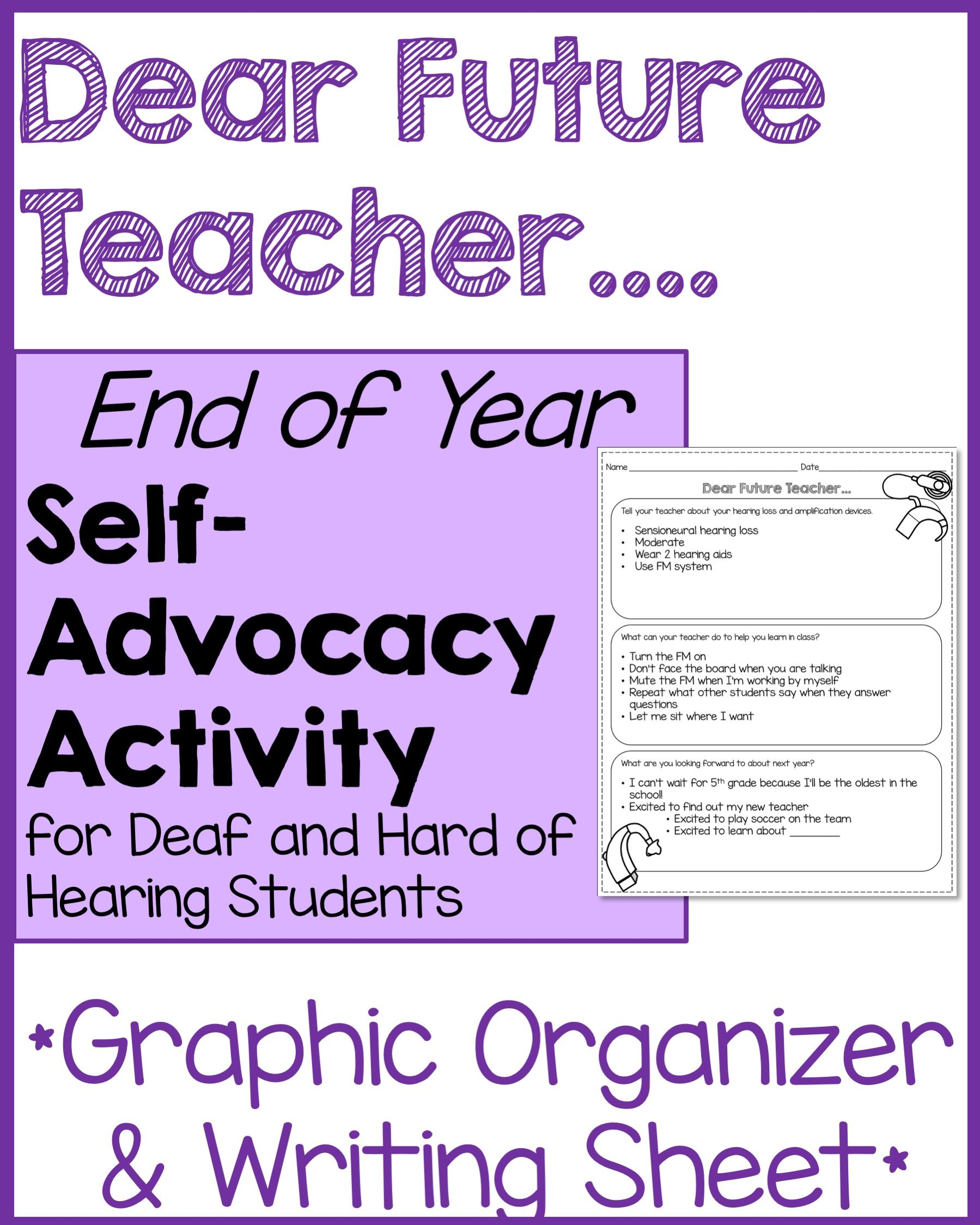 Dear Future Teacher Self Advocacy Activity