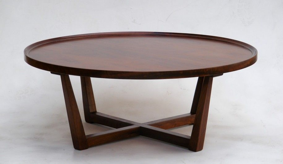 Modern Design of Coffee Table Height Round Imbuia Coffee Table By