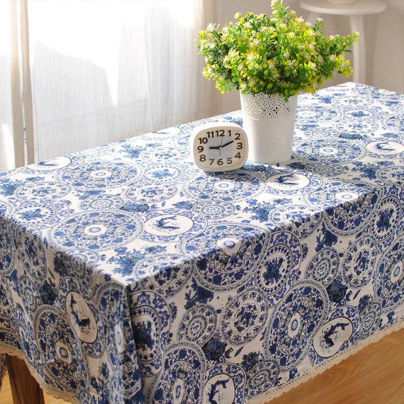 Round Tablecloth Blue Printed Cotton Linen Rectangle Wedding Tablecloth Lace Table Cover Handmade Embroidery Table Covers Wedding Table Covers Porcelain Decor