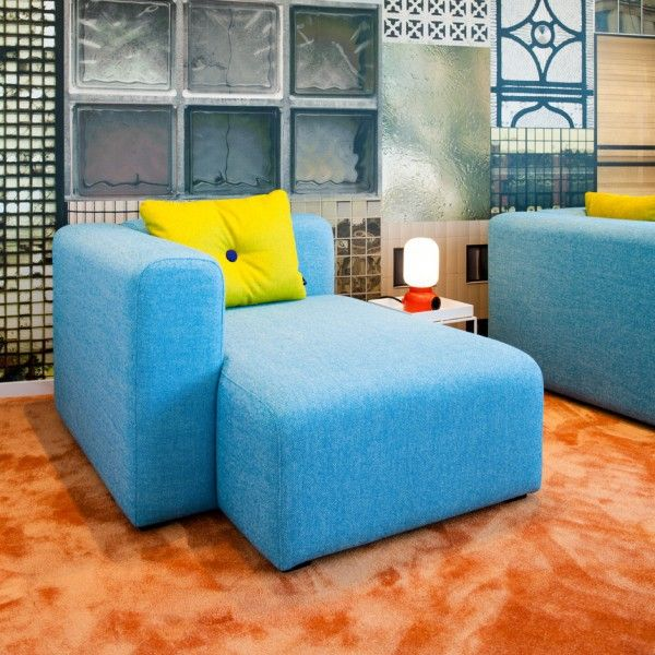 Beautiful modern office renovation stockholm blue couch shelves orange carpet idea