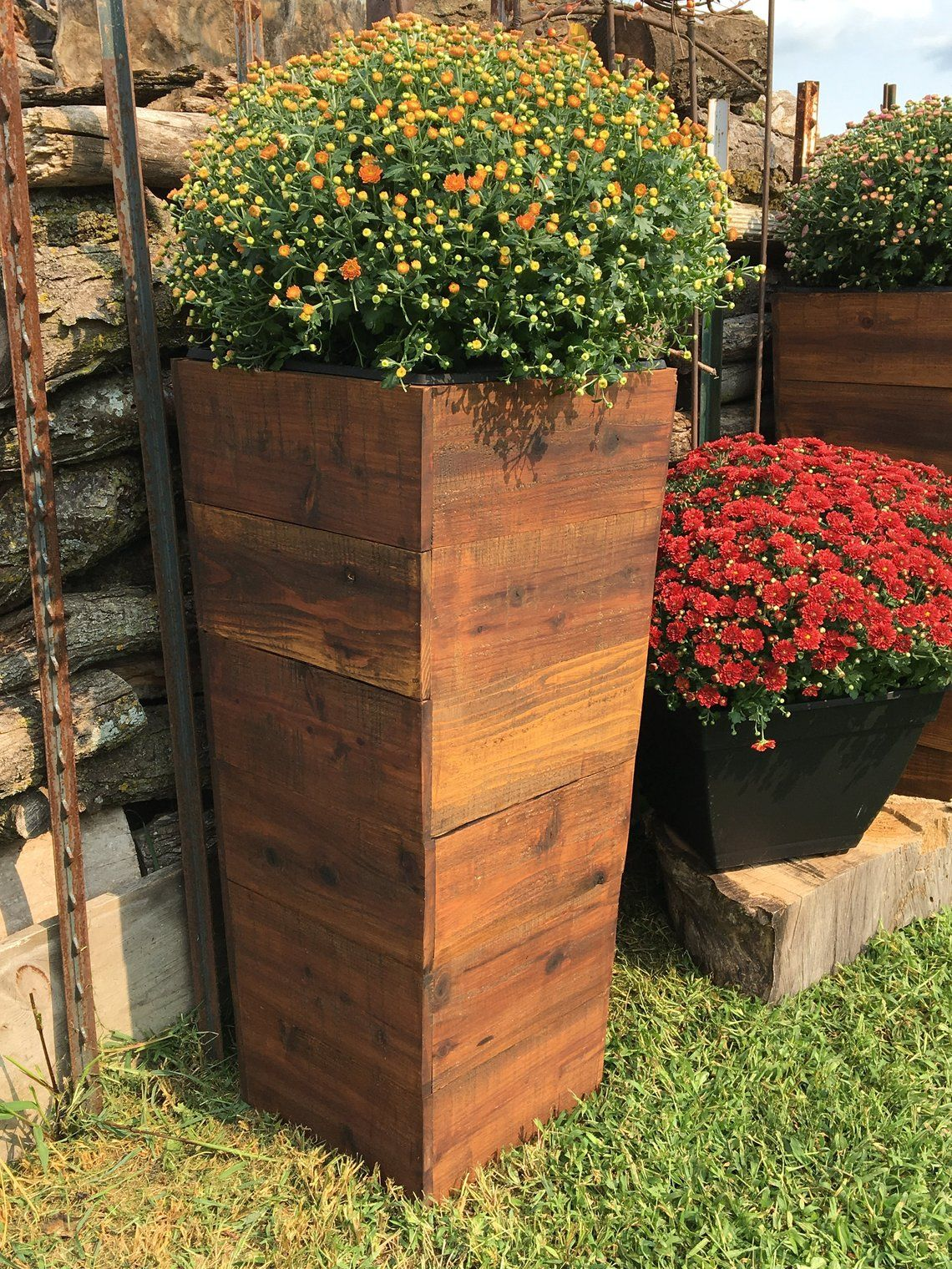 Image 0 Wood Planters Rustic Planters Patio Planters