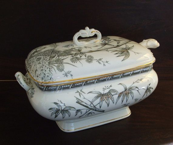1880s Antique Soup Tureen & Ladle Tropics by AnotherTimeAntiques