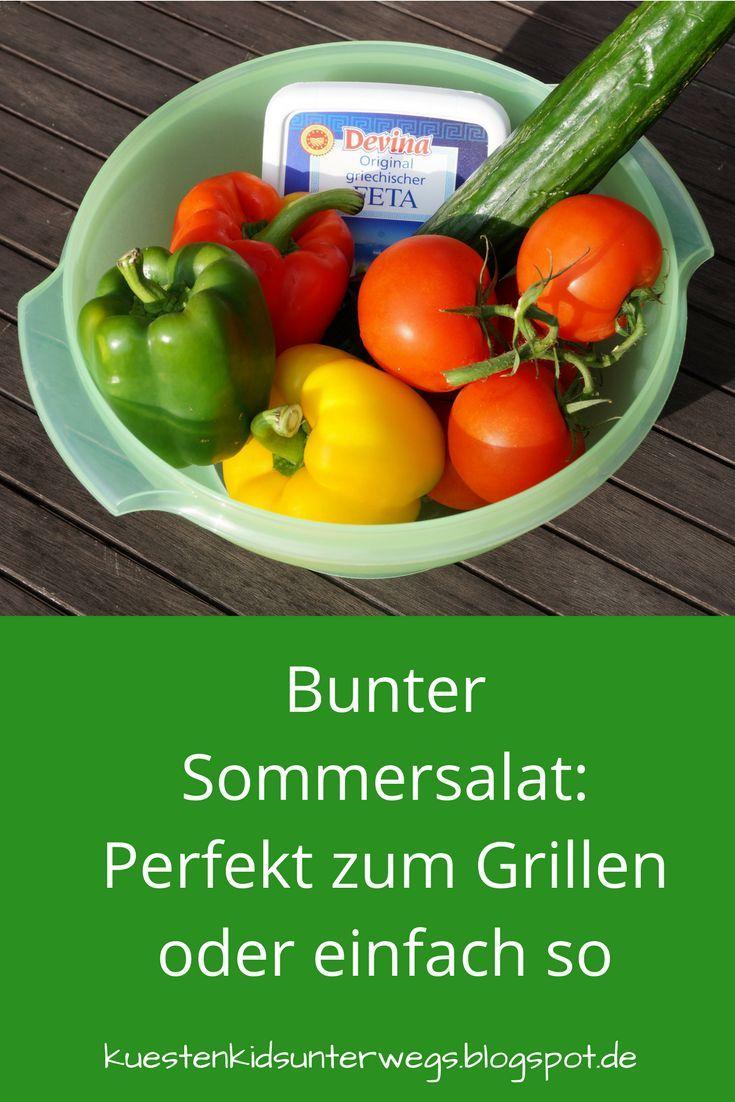 Mein bunter Sommersalat ist bei uns bereits ein Klassiker geworden! Wir essen ihn total gern zum Grillen, aber auch einfach so, denn er ist frisch, knackig und bei heißem Wetter genau das Richtige!