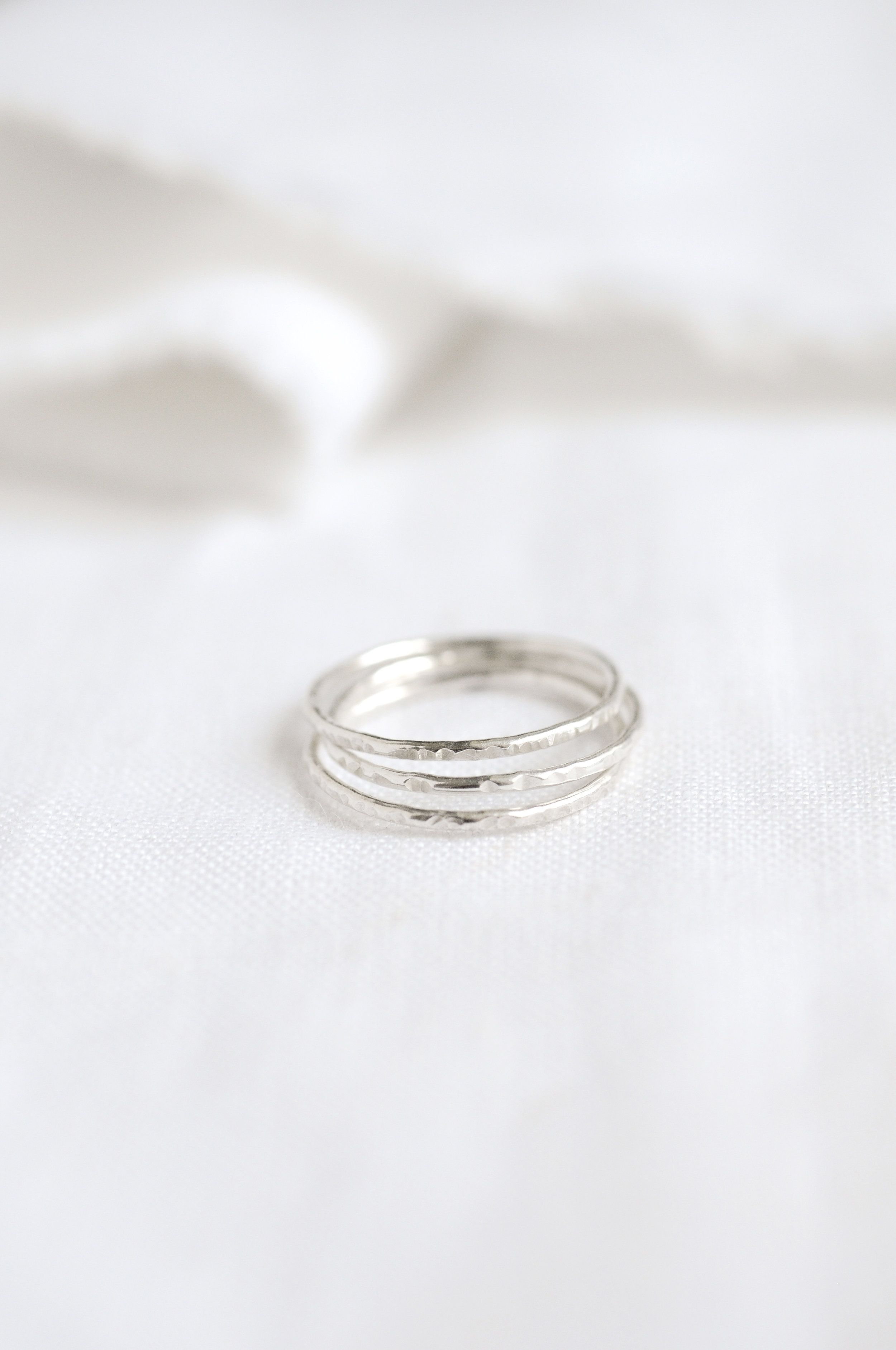 Hammered Stacking Ring Rings Stacking Rings Silver Rings