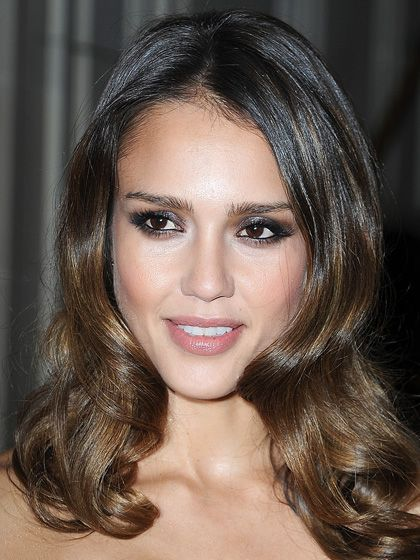 "Jessica Alba's smoldering metallic smoky eyes: ""The silver shadow opens them up and makes them look so much bigger,"" makeup artist Meredith Baraf says."