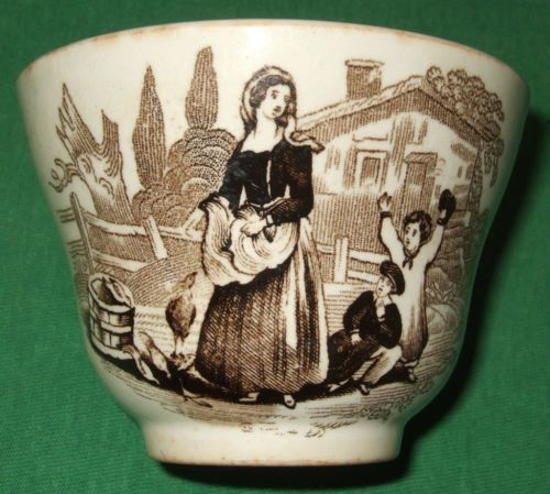 ANTIQUE BLACK & BROWN TRANSFERWARE BOWL CUP UNMARKED MOTHER FATHER CHILDREN OLD - serveware