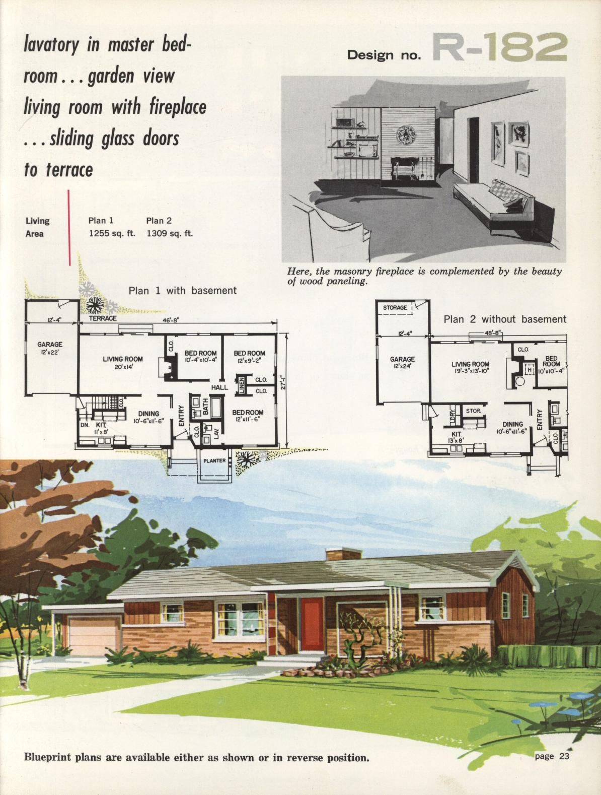 Town & Country Ranch Homes 1962 Vintage House Plans
