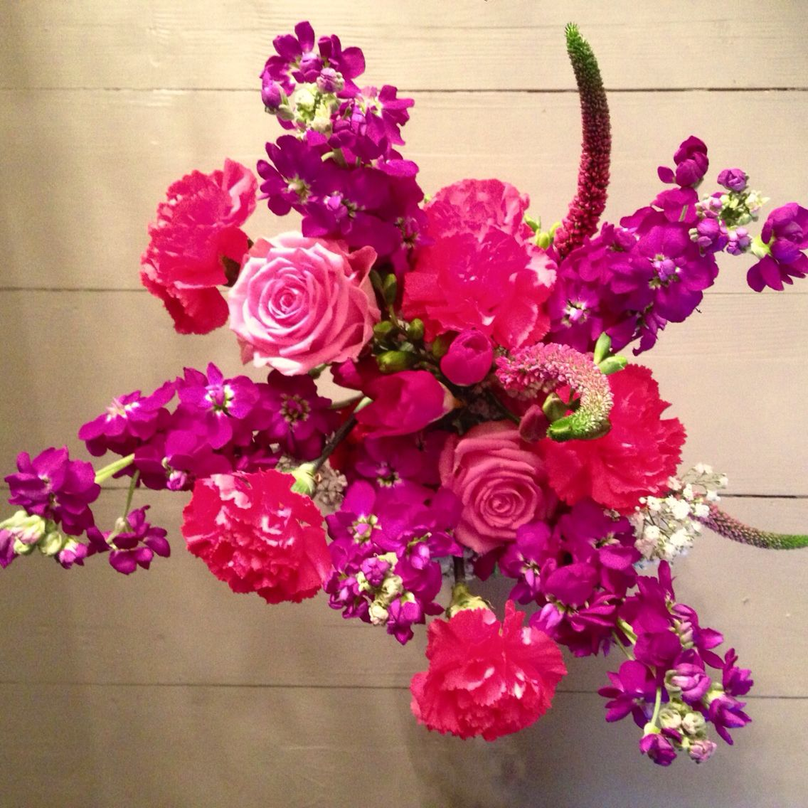 Hot Pink And Purple Table Flowers By Avintagewedding