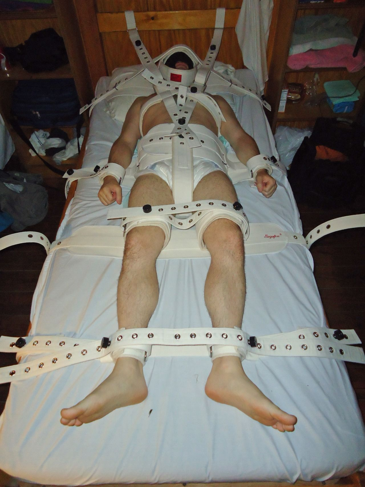 Medical fetish and restrained in diapers