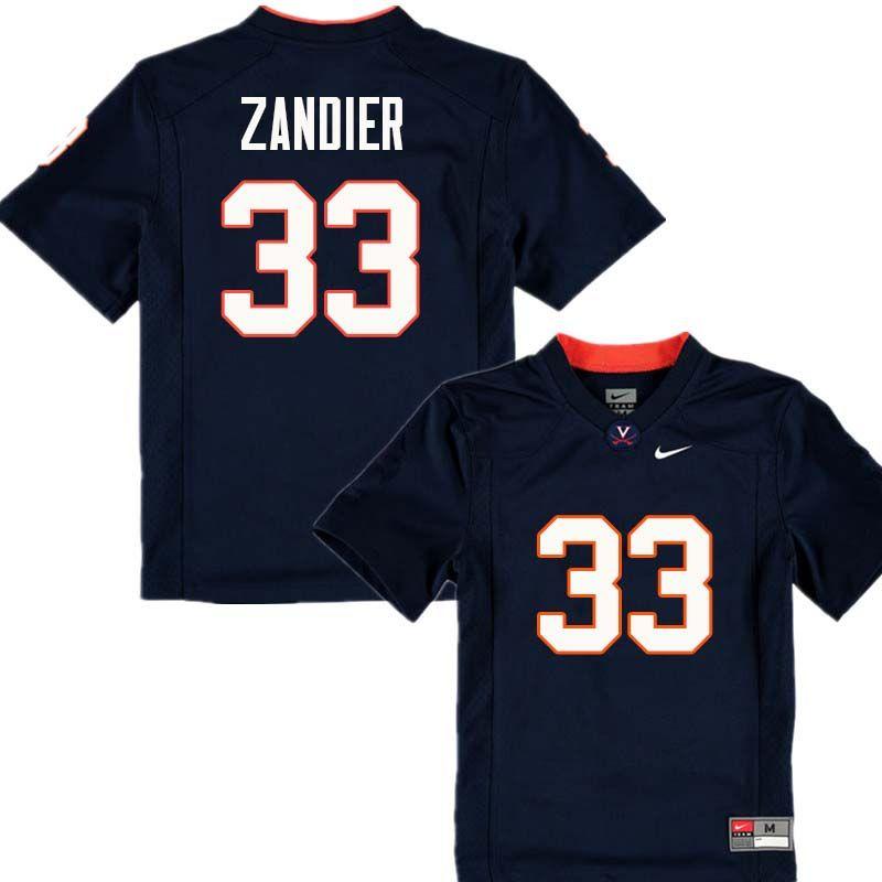 new arrival e1ec6 1b5b2 Men #33 Zane Zandier Virginia Cavaliers College Football ...