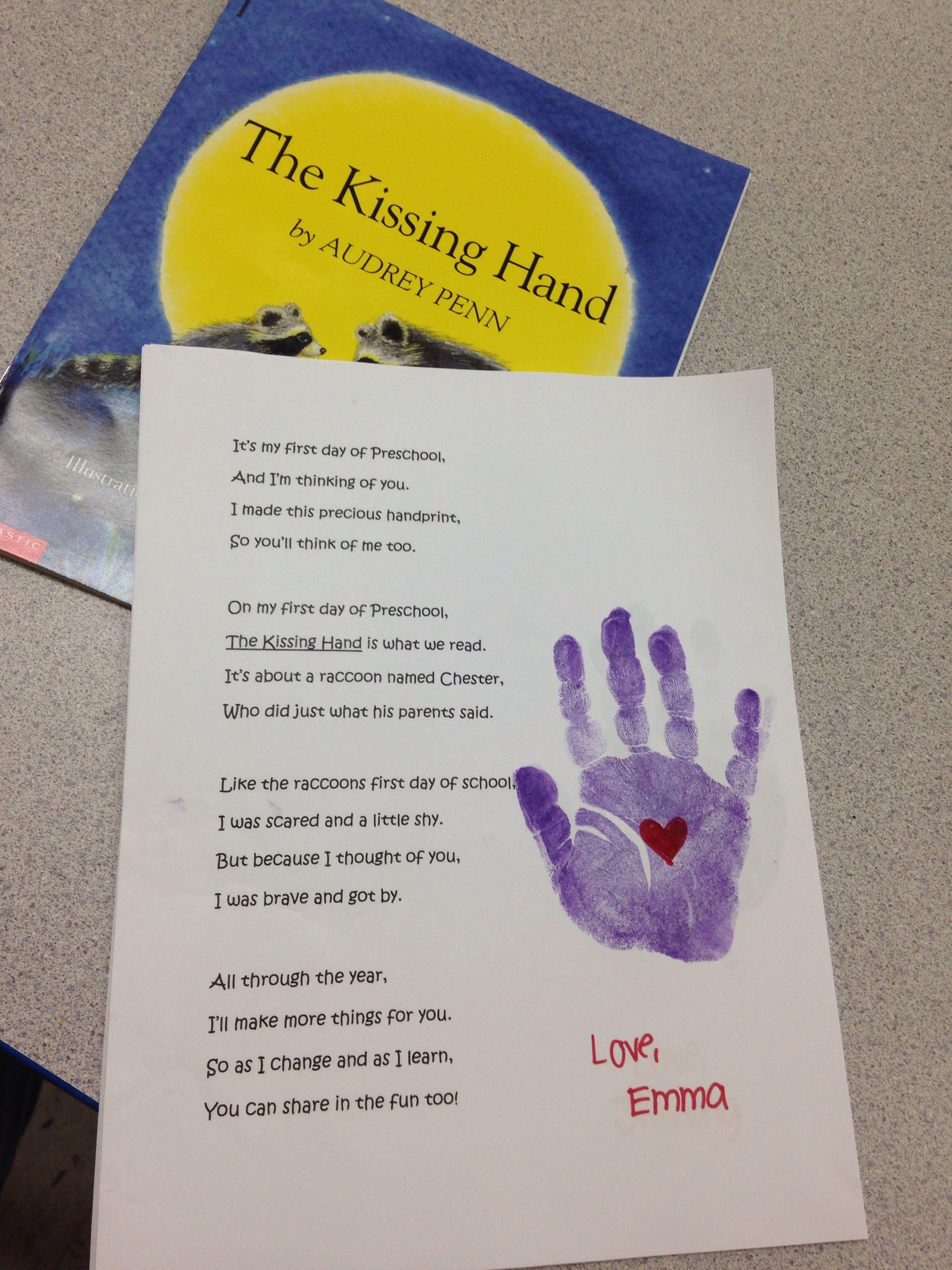 Preschool The Kissing Hand Poem And Handprint