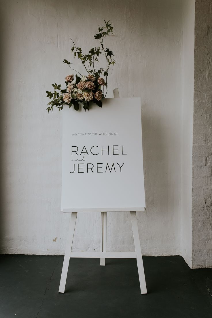 Wedding welcome sign with floral detail  weddingsignage is part of Wedding decorations -
