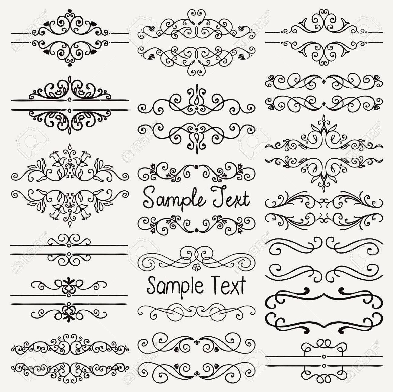 Set Di Elementi Di Design Doodle Nero Disegnato A Mano Decorativi