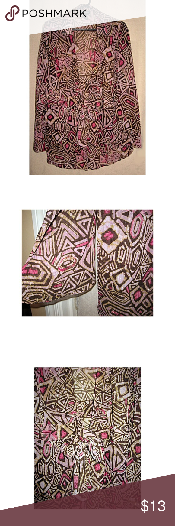 Lane Bryant Sheer Tie Front Kimono Magenta 1X NWOT  Lane Bryant sheer tie front abstract print kimono jacket. Cream, chocolate brown, and magenta print, shot through with gold. Bell sleeves Bust: 48