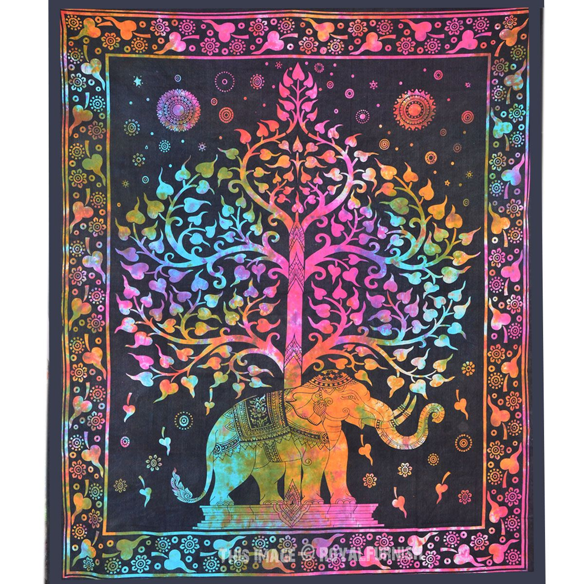 Blue multi elephants sun ombre mandala wall tapestry royalfurnish - Multicolor Tie Dye Colorful Elephant Tree Tapestry Wall Hanging Bedspread Bedding On Royalfurnish Com