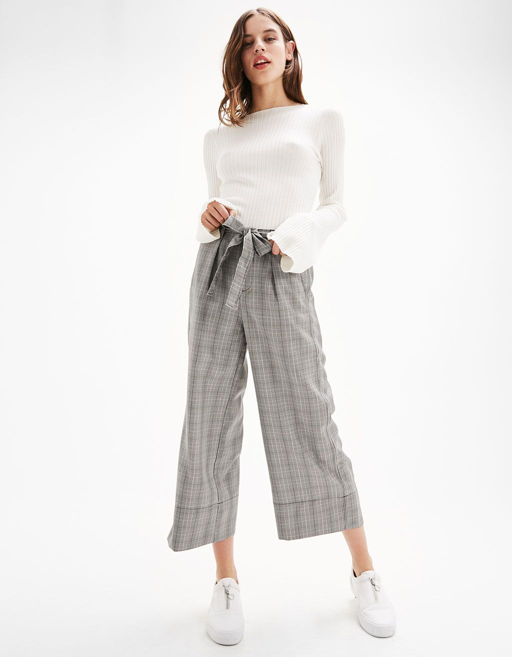 Checked culottes with belt