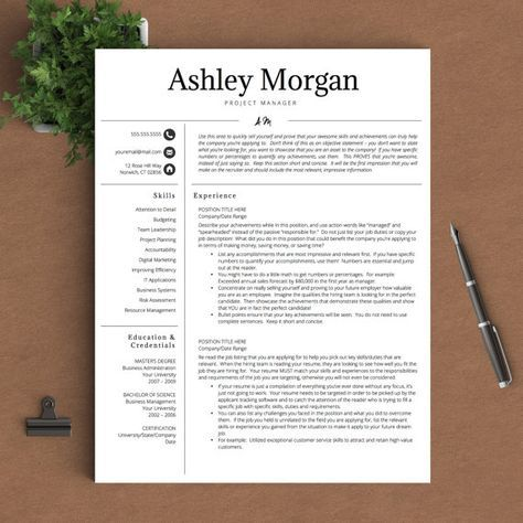 Professional Resume Template for Word & Pages | 1, 2 and 3 Page ...