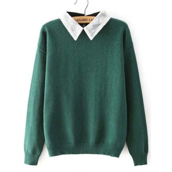 Lace Lapel Loose Green Sweater (445 MXN) ❤ liked on Polyvore featuring tops, sweaters, shirts, jumpers, green, green shirt, long sleeve pullover sweater, green long sleeve shirt, pullover sweater and lace shirt