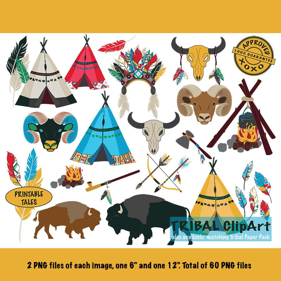 tribal clipart kids teepee arrow bow buffalo ram skull feathers campfire axe indian headdress peace [ 900 x 900 Pixel ]
